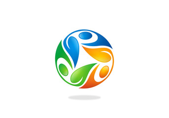 circular people ecology leaf vector logo