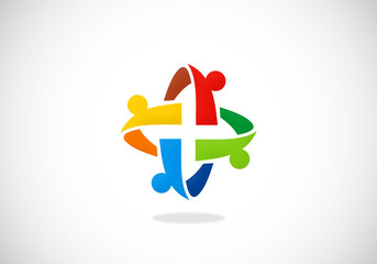 circular people teamwork group abstract logo