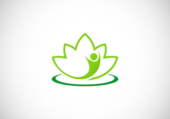 spa lotus people abstract logo