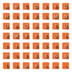 Flat A-Z Alphabet Icon Set with long shadows