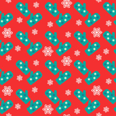 new year vector pattern background with mitten