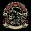 Vintage Biker Skull Emblem - 70220806