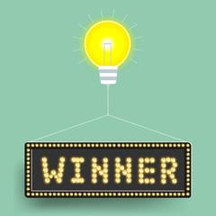 Winner light bulb billboard of business. Vector illustration