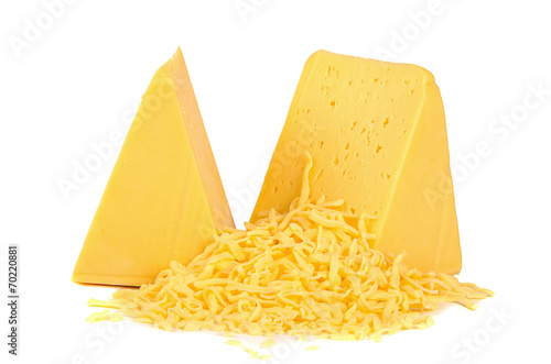 Staande foto Zuivelproducten The cheese isolated on white background