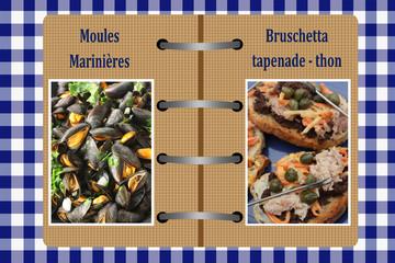 Livre de Cuisine - Bruschetta   Moules marinières