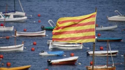 Catalonia Flag Waving with Boats