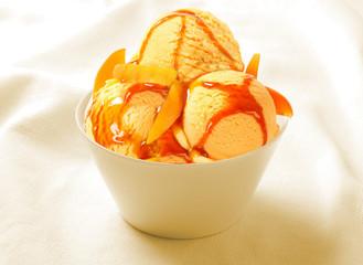 Ice Cream Sorbet strawberry in the ceramic cup