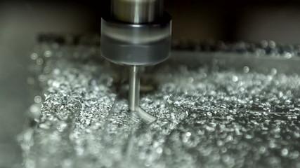 Close-up view: Metal Lathe Cutting Aluminium