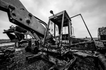 scrap crane black and white