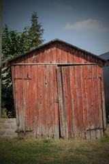 Hintergrund rote Holzhütte