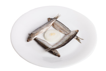 Sprats on plate isolated on white background