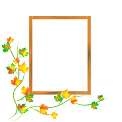Window frame with autumn leaves, isolated on white