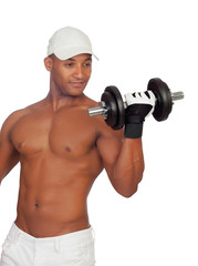 Handsome guy wearing cup training with dumbbells