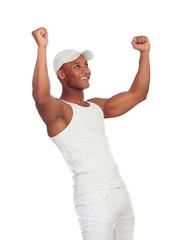 Winner handsome guy dressed in white