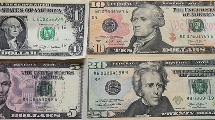 one to 100 dollars left to right view