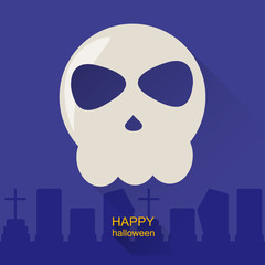 Halloween vector background with skull