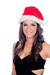 Elegant brunette girl with Christmas hat