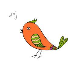 Doodle of red singing bird for design