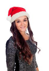 Elegant brunette girl with Christmas hat