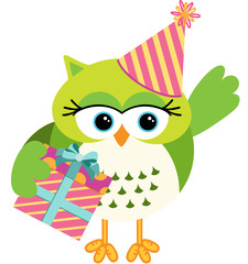Birthday owl with gift box