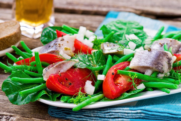 herring ,green beans, and tomatoes summer salad.