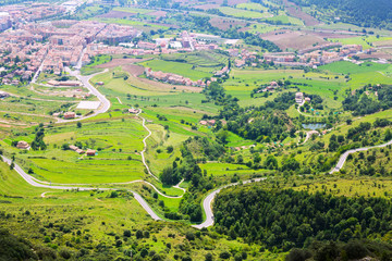 Berga area from mount in summer. Pyrenees