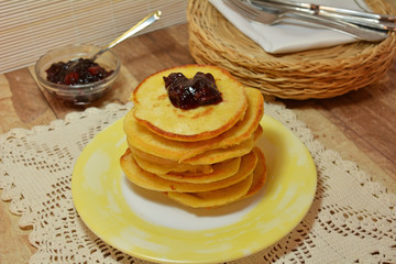 Homemade American Pancakes With Jam And Icing Sugar