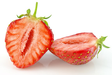 Ripe red strawberries isolated on white background