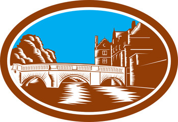 Trinity College Bridge Cambridge Woodcut