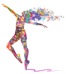 silhouette di ballerina composta da colori