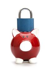 Safe saving. Piggy bank with padlock