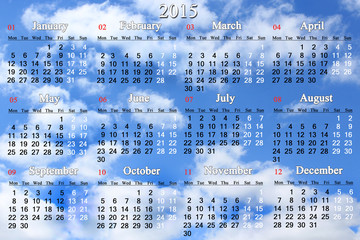 calendar for 2015 year on the white clouds background