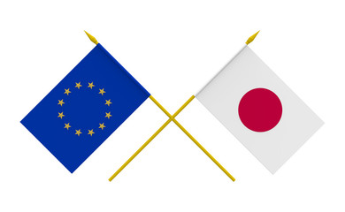 Flags, Japan and European Union