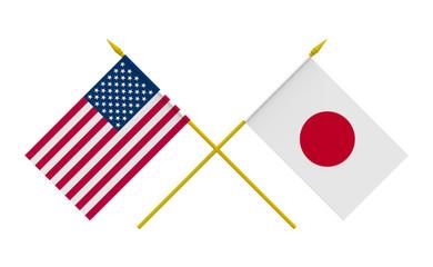 Flags, Japan and USA