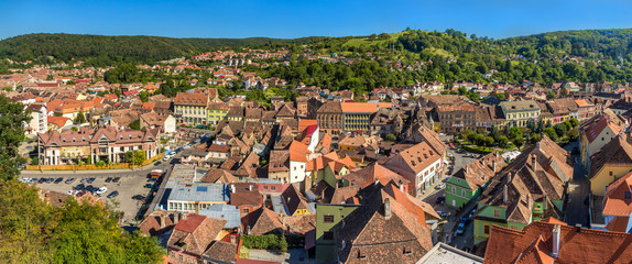 Panorama of Sighisoara town in Romania, Transylvania