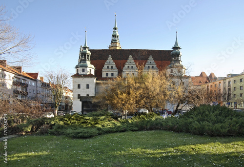 Leinwanddruck Bild City hall in Brzeg. Poland