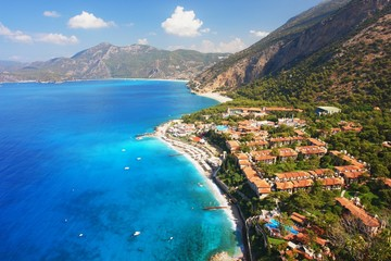 View of the coast in Oludeniz, Turkey