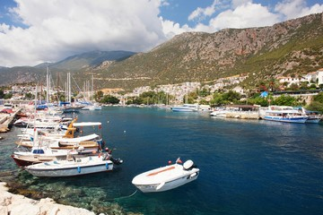 View of the marina in Kas, Turkey