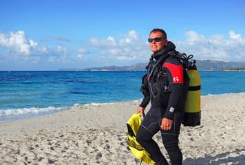 Plongeur sur la plage