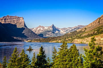 Landscape view of mountain range in Glacier NP, Montana, USA