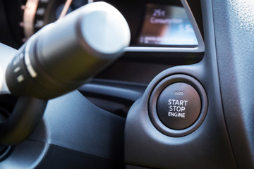 Engine start stop button in the car