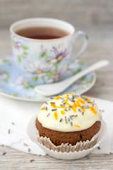 Sweet pumpkin cupcake with cream cheese icing