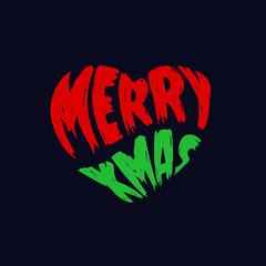 Merry Christmas typography in heart shape splatter style