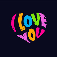 I Love You typography in Heart shape splatter style