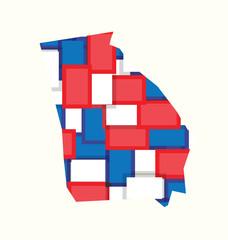 Georgia red,white,blue color squares map. Concept of politics