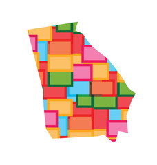 Georgia color squares map. Concept of diversity