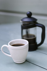 White Espresso Cup and French Press