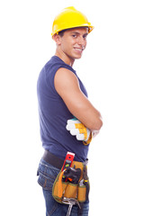 Portrait of a smiling worker, isolated on white background