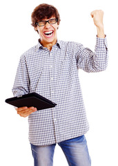 Happy guy with tablet pc