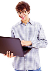 Laughing guy with laptop